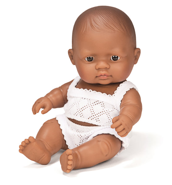 Miniland Anatomically Correct Baby Doll, Latin American Girl, 21cm