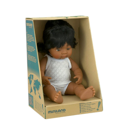 Miniland Anatomically Correct 38cm Doll, Latin American Girl
