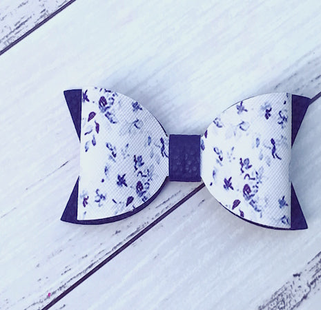 "4"" Leatherette Hair Bow - Navy Floral"