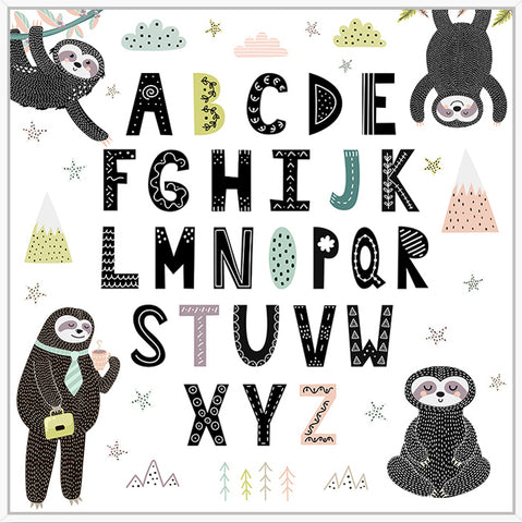 Sloth Alphabet Floating Frame Print