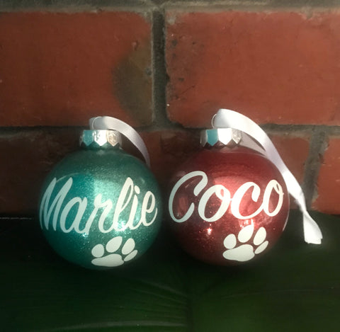 Personalised Christmas Baubles - Paw Prints
