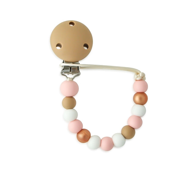 Handmade Dummy/Pacifier clip (Safety Certified)-Rose Gold/Rose Quartz