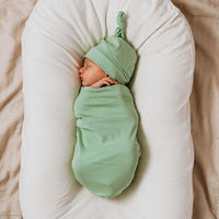 Snuggle Swaddle Sack and Beanie Set- Sage