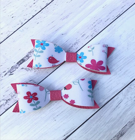 "4"" Leatherette Hair Bow - Spring Garden"
