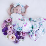 Jersey Wrap and Top Knot Set - Sweet Petal