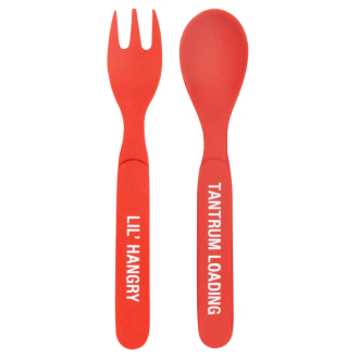 Toddler Bamboo Cutlery Set -Red