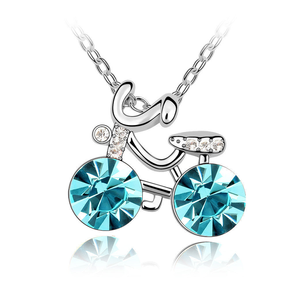 Cute Girl's Bicycle Aquamarine Swarovski Elements Crystal Pendant Necklace
