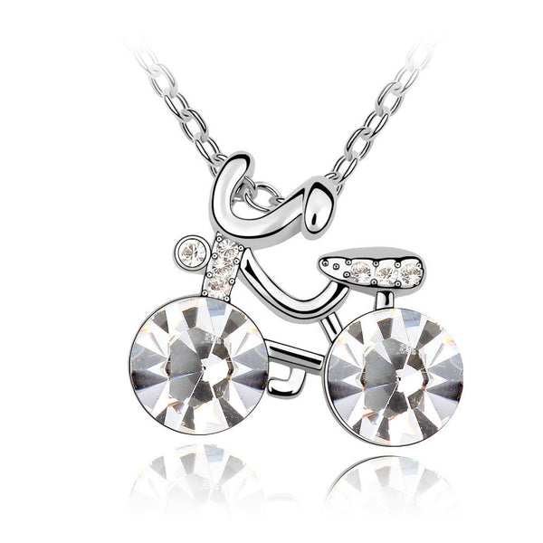Cute Girl's Bicycle Clear Swarovski Elements Crystal Pendant Necklace