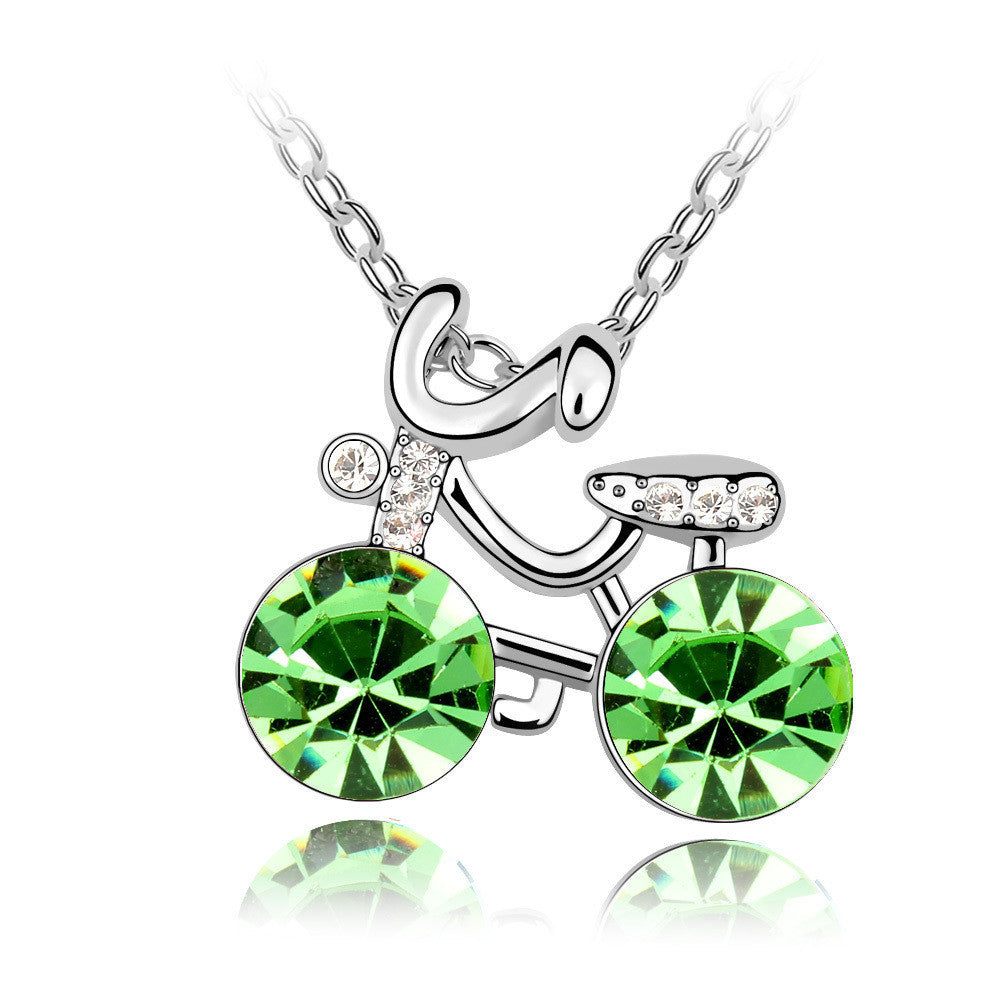 Cute Girl's Bicycle Peridot Swarovski Elements Crystal Pendant Necklace