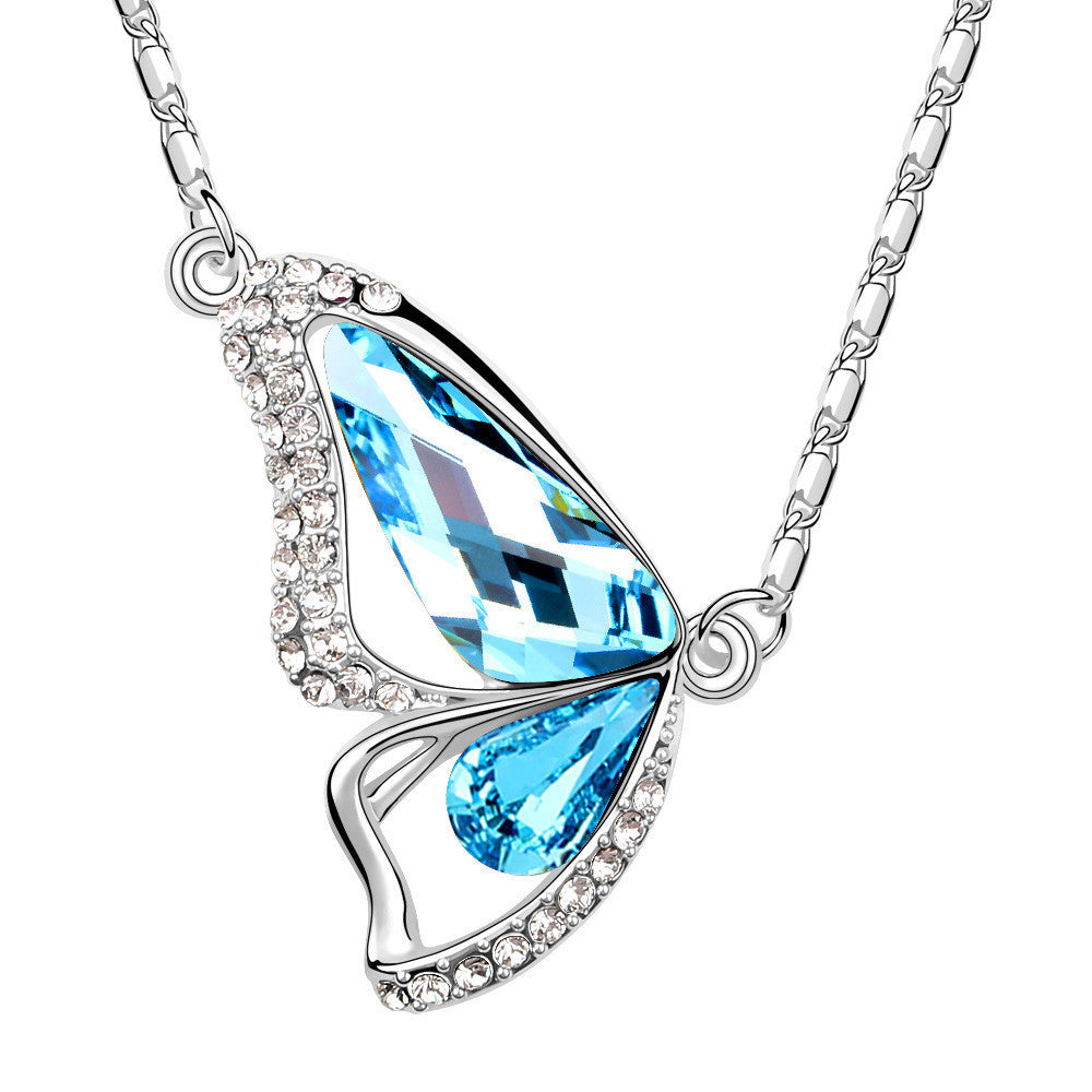 Butterfly aquamarine swarovski elements crystal pendant necklace aloadofball Image collections
