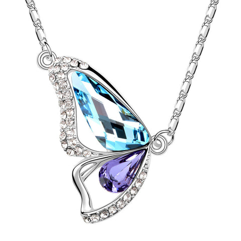 Butterfly Aquamarine Amethyst Swarovski Elements Crystal Pendant Necklace