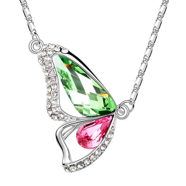 Butterfly Peridot Pink Tourmaline Swarovski Elements Crystal Pendant Necklace