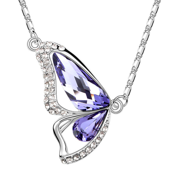 Butterfly Amethyst Swarovski Elements Crystal Pendant Necklace