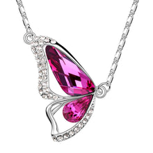 Butterfly Pink Tourmaline Swarovski Elements Crystal Pendant Necklace