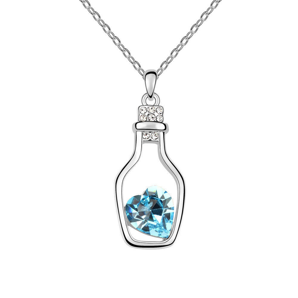 Glass Bottle with Aquamarine Heart Stone Swarovski Elements Crystal Pendant Necklace