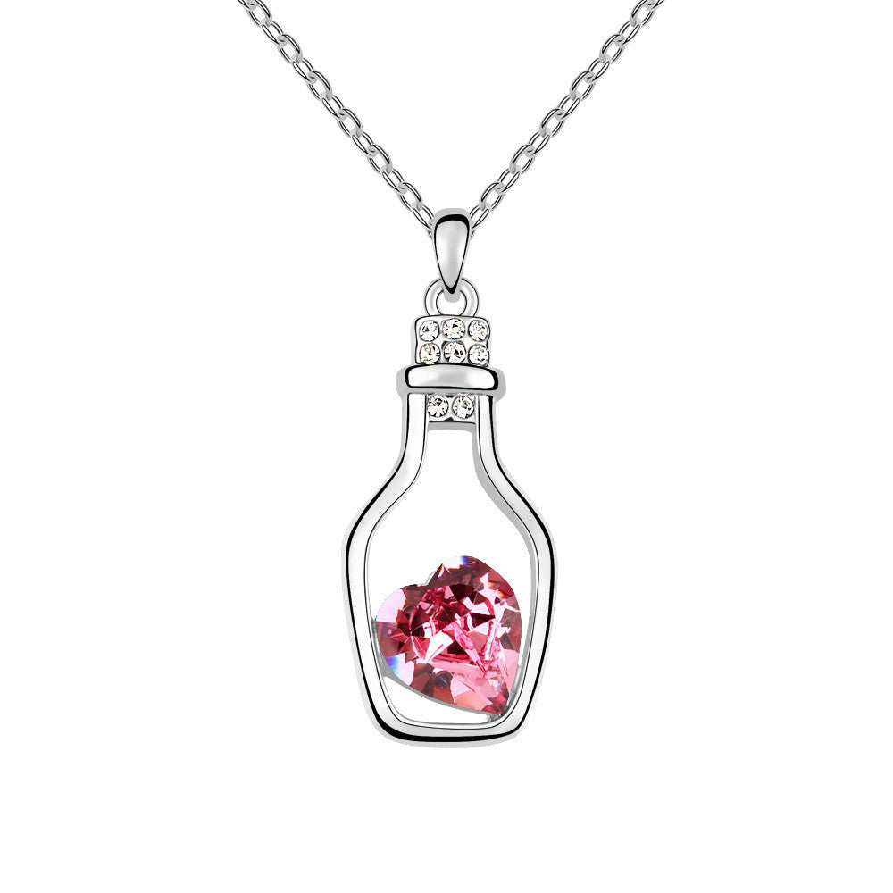 Glass Bottle with Rose Heart Stone Swarovski Elements Crystal Pendant Necklace