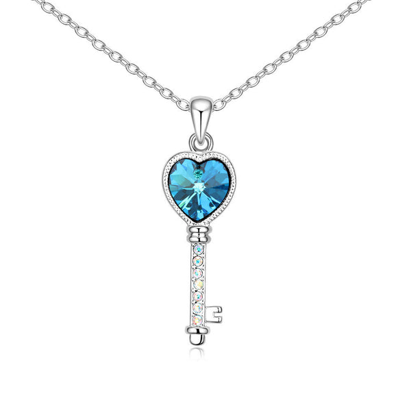Lover's Heart Key Aquamarine Swarovski Elements Crystal Pendant Necklace