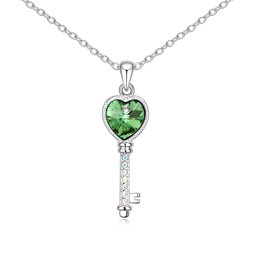 Lover's Heart Key Peridot Swarovski Elements Crystal Pendant Necklace