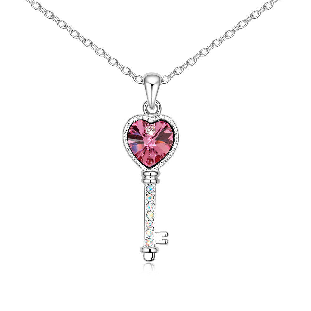 Lovers heart key rose swarovski elements crystal pendant necklace mozeypictures Images
