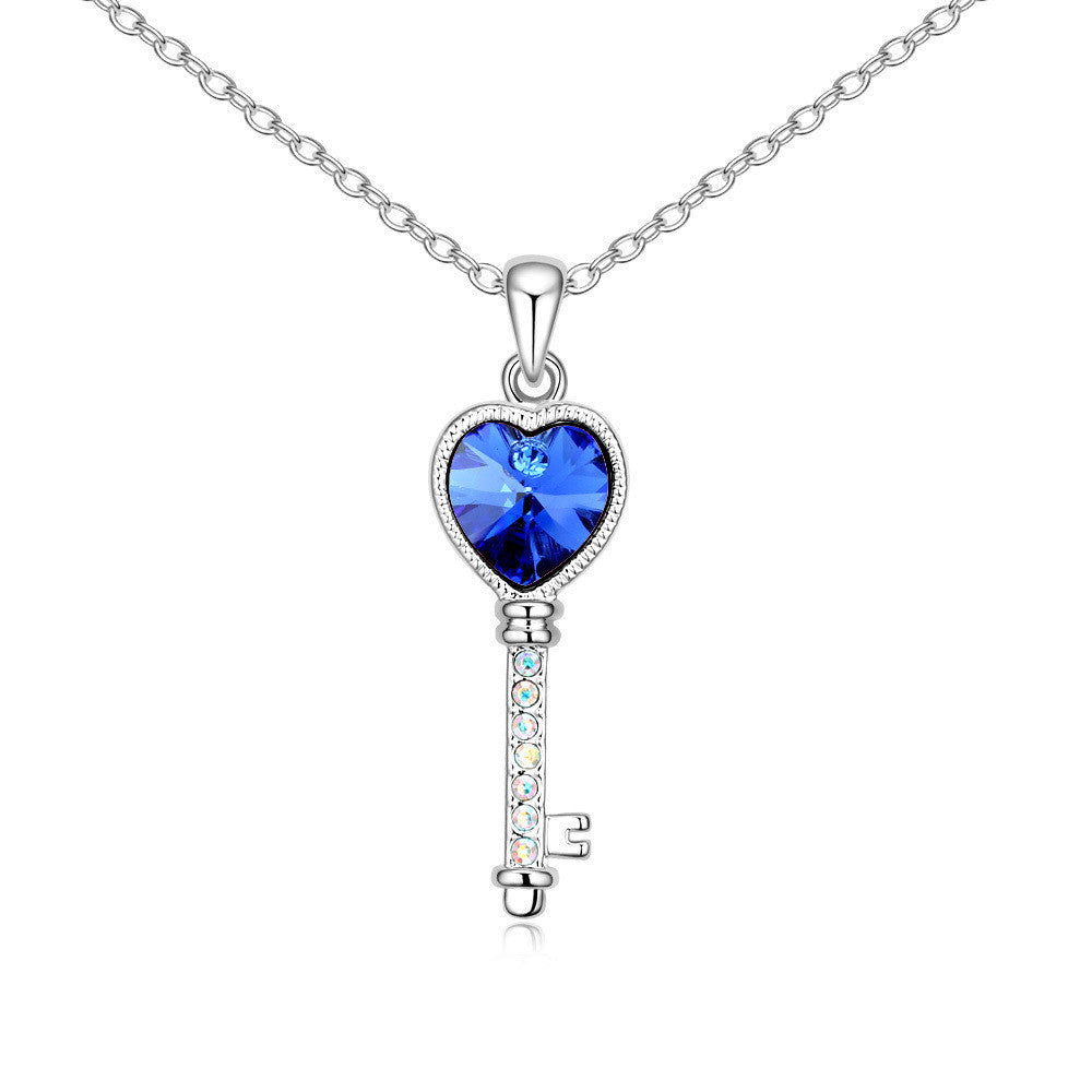 Lover's Heart Key Sapphire Swarovski Elements Crystal Pendant Necklace