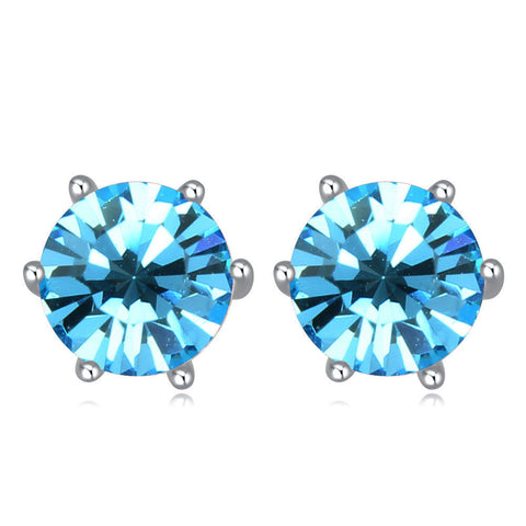 Aquamarine Swarovski Elements Crystal Round 7mm Stud Earrings