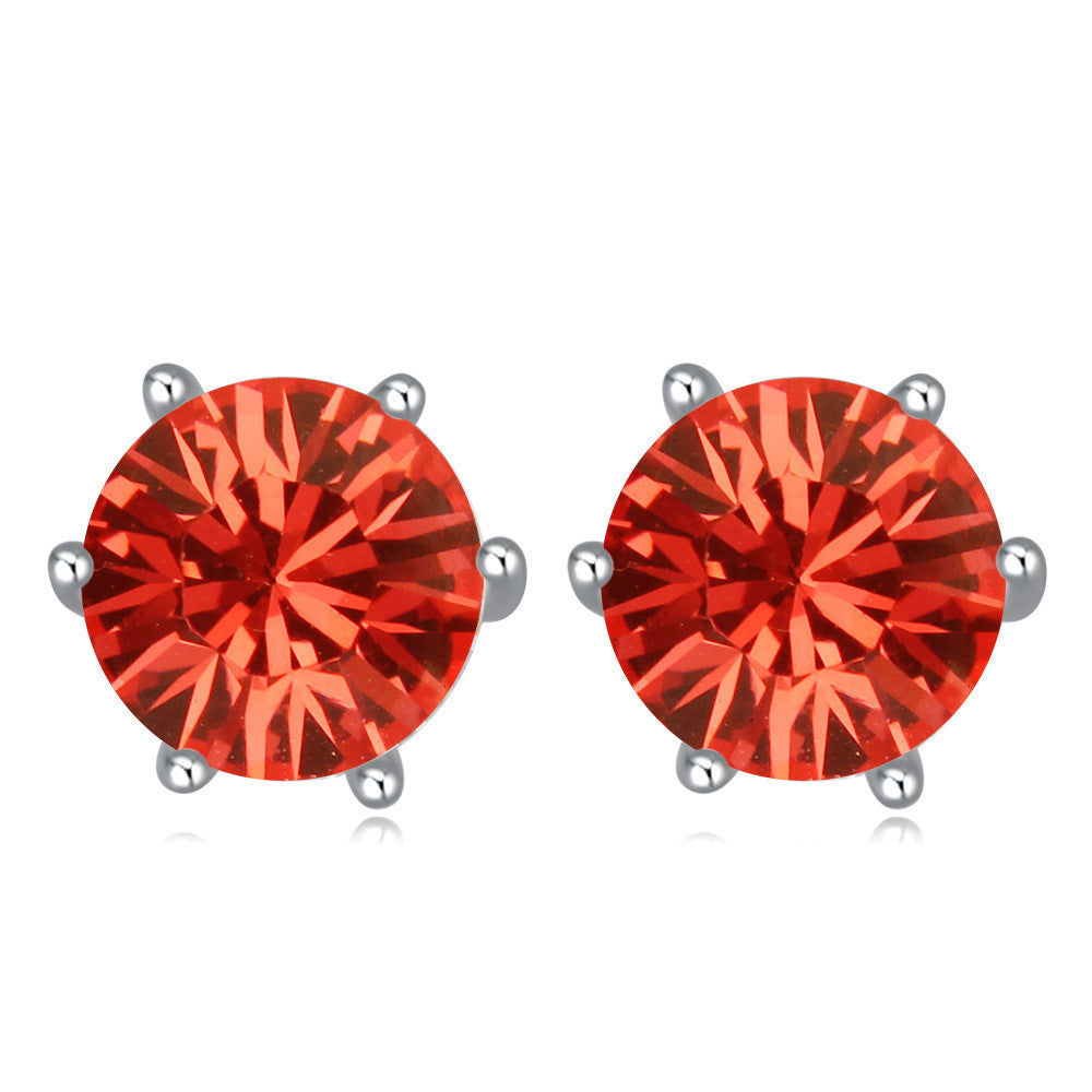 Padparadscha Swarovski Elements Crystal Round 7mm Stud Earrings