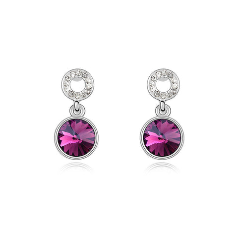 Amethyst Swarovski Elements Crystal Drop Earrings
