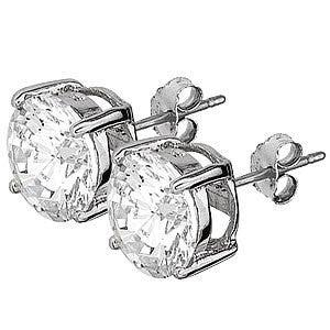 Sterling Silver 10mm Brilliant Cut CZ Stud Earrings