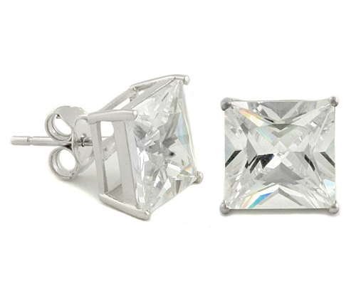Sterling Silver 8mm Princess Cut CZ Stud Earrings