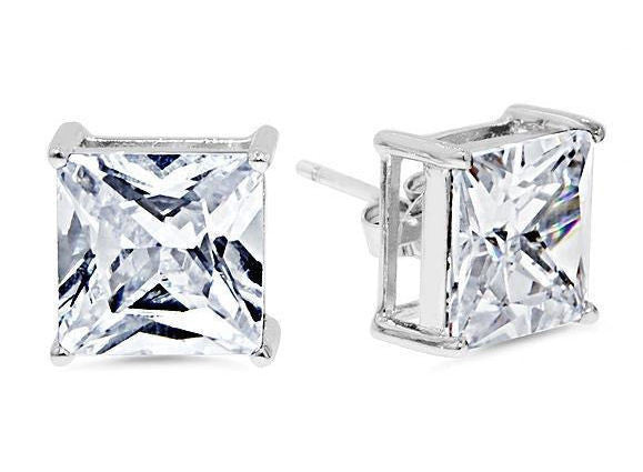 Sterling Silver 9mm Princess Cut CZ Stud Earrings
