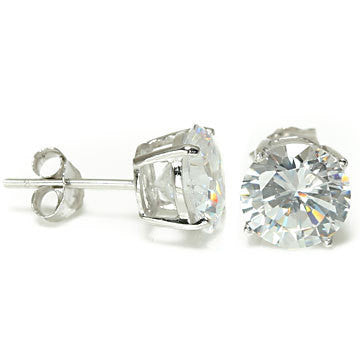 Sterling Silver 8mm Brilliant Cut CZ Stud Earrings