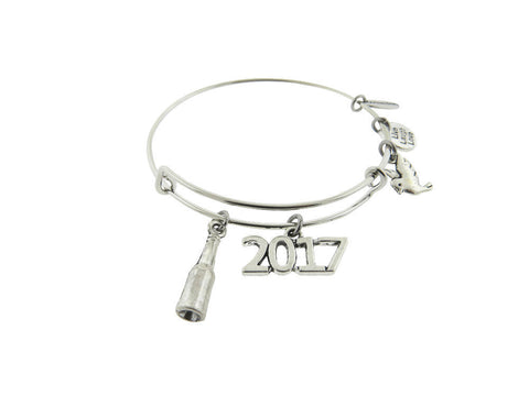 "Champagne Bottle "" 2017 "" Silver Tone Expandable Wire Bracelet"