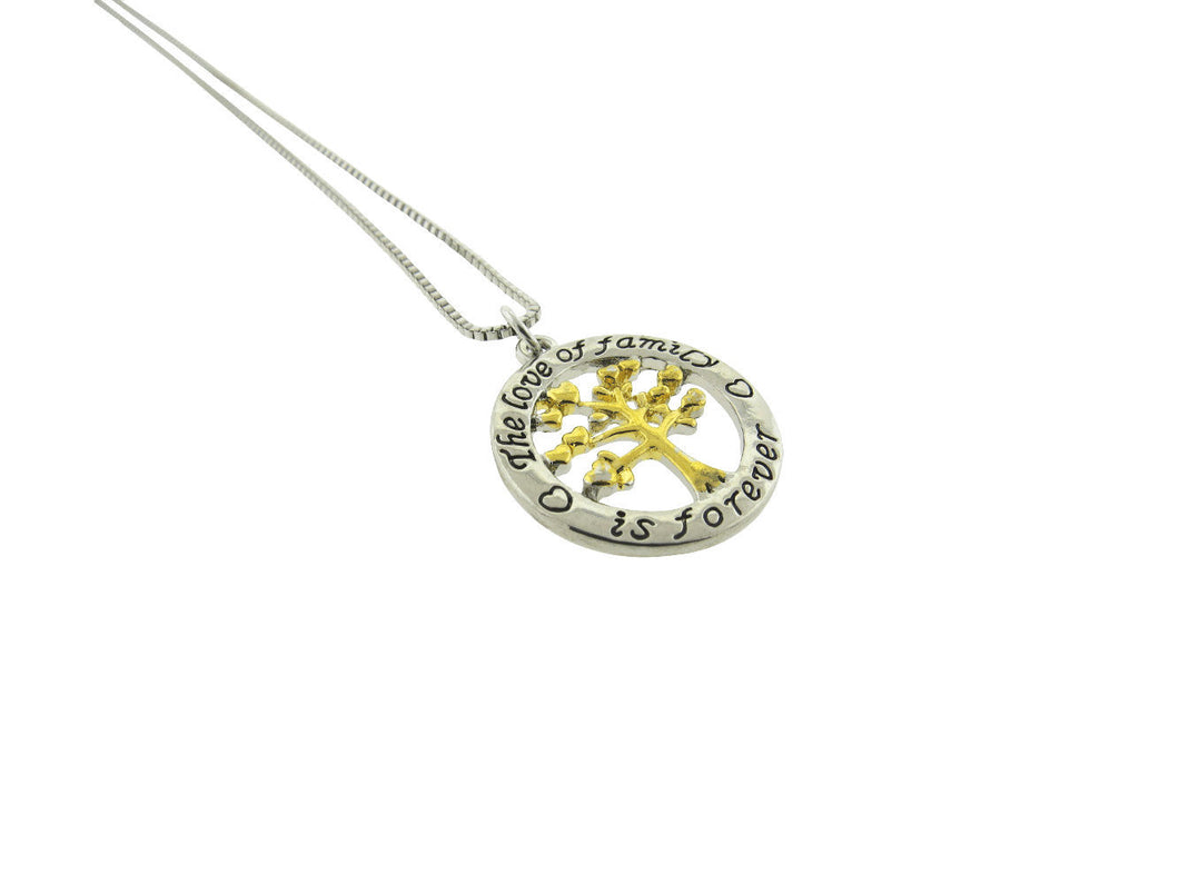 The Love of Family is Forever Family Tree Silver Gold Plated Pendant Necklace