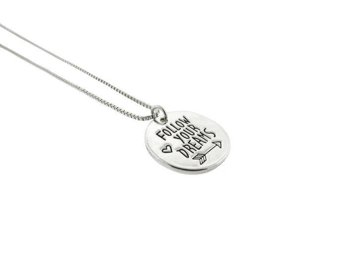 Follow Your Dreams Silver Plated Disc Pendant Necklace