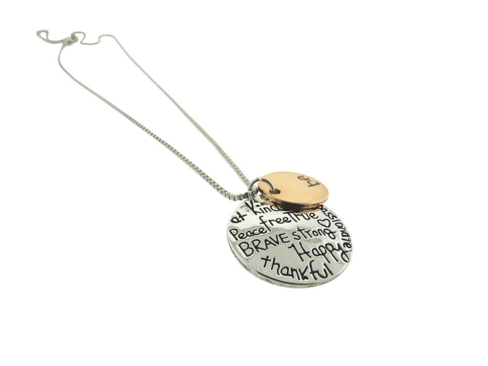 Be Kind Be Brave Statement Silver Plated Disc Pendant Necklace