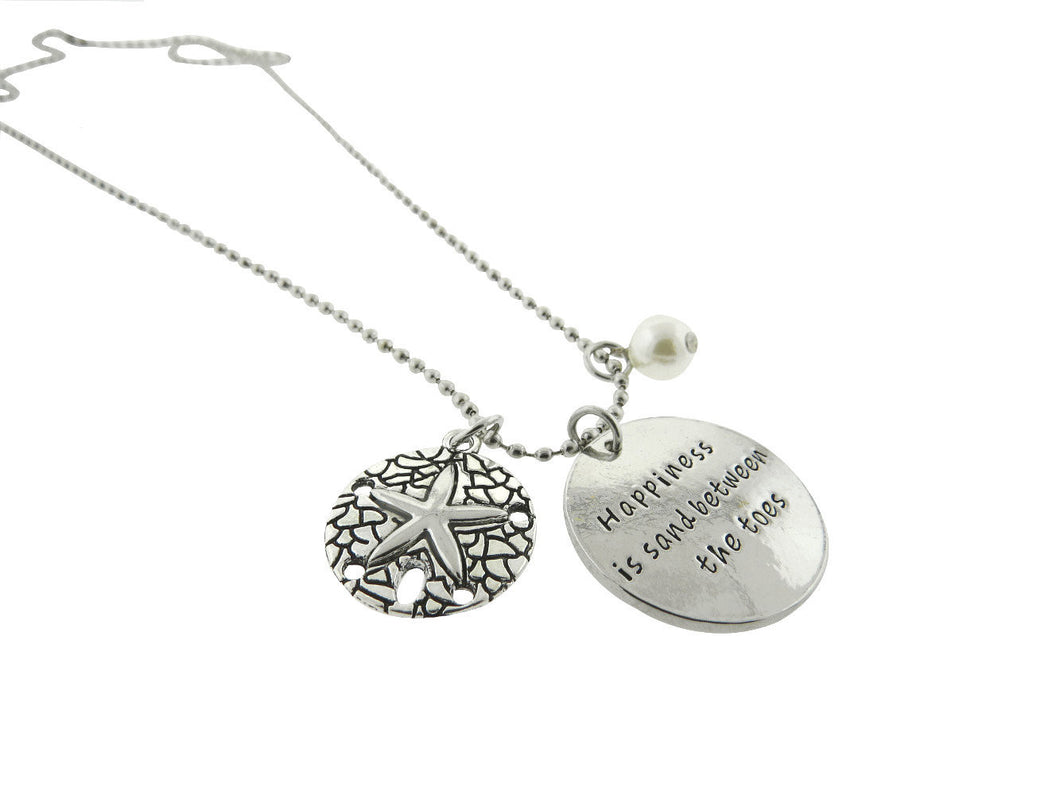 Happiness is Sand Between The Toes Silver Plated Disc Pendant Necklace