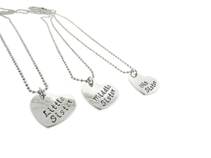 Little Sister Middle Sister Big Sister Silver Plated Heart Pendant Necklace Set