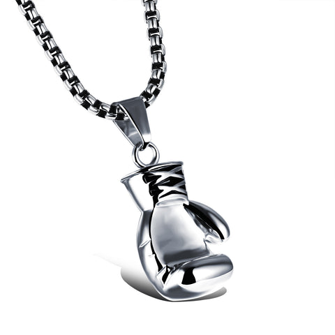 Stainless Steel Large Boxing Glove Pendant Necklace