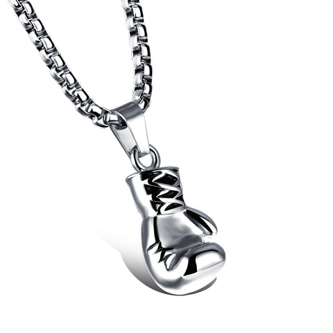 Stainless Steel Small Boxing Glove Pendant Necklace