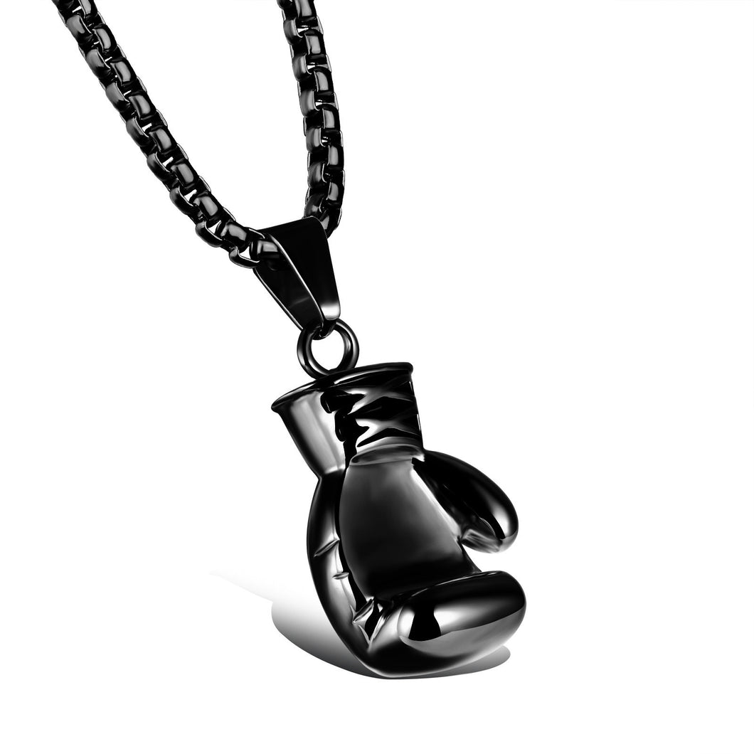Black Stainless Steel Large Boxing Glove Pendant Necklace