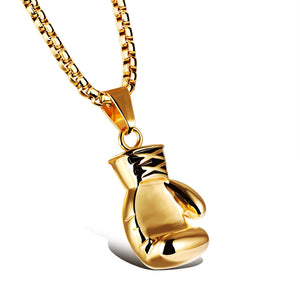 Gold Stainless Steel Large Boxing Glove Pendant Necklace