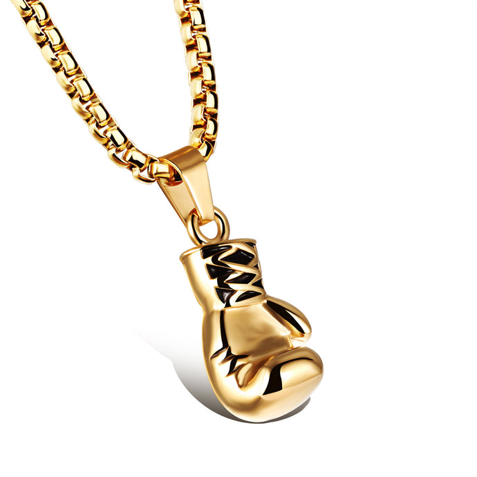 Gold Stainless Steel Small Boxing Glove Pendant Necklace