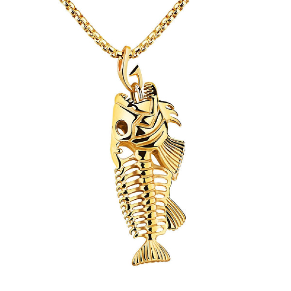 Gold Stainless Steel Large Fish Bone Skeleton Pendant Necklace
