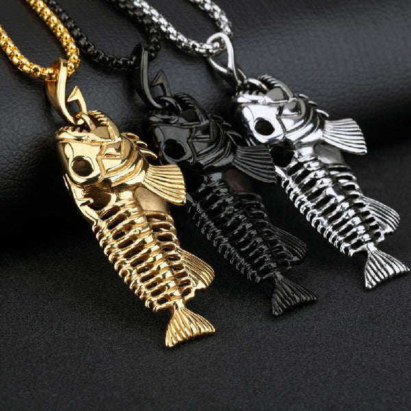 Stainless Steel Large Fish Bone Skeleton Pendant Necklace