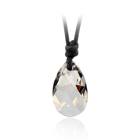 Clear Silver Tear Drop Swarovski Elements Crystal Pendant Rope Necklace