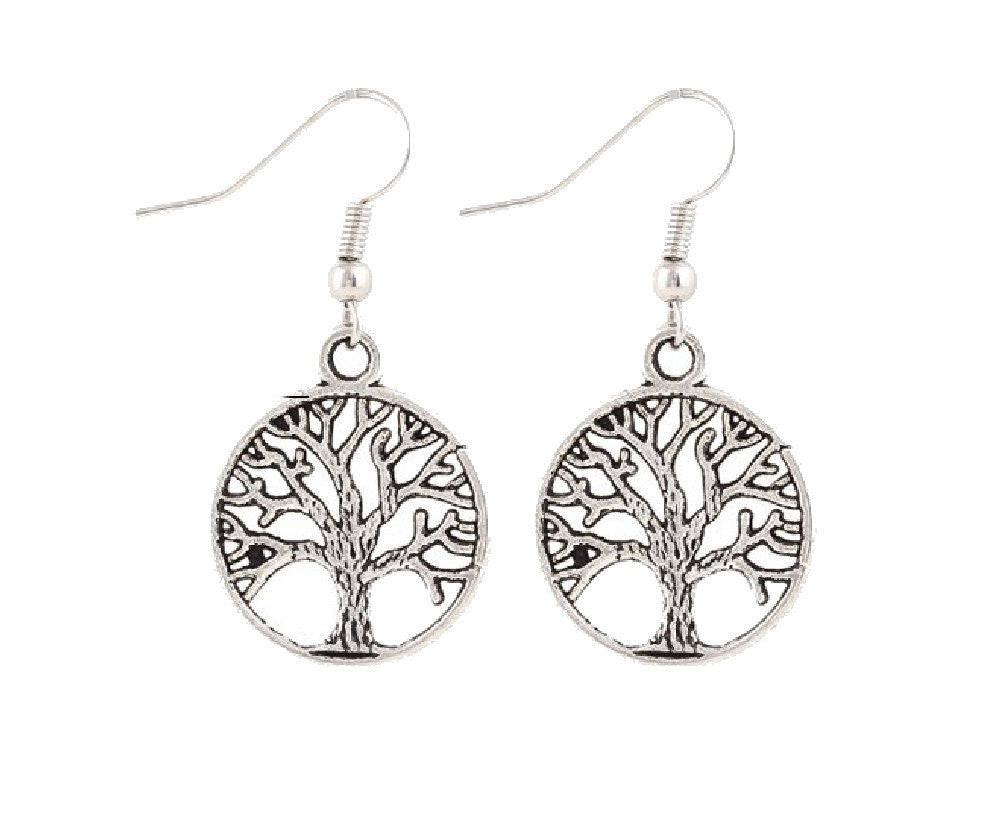 Envious Gems Tree of Life Silver Tone Earrings