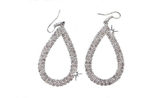 Large Silver Plated Crystal Open Teardrop Earrings