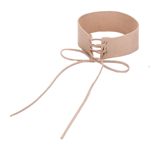 Beige Leather Punk Style Collar Choker Necklace