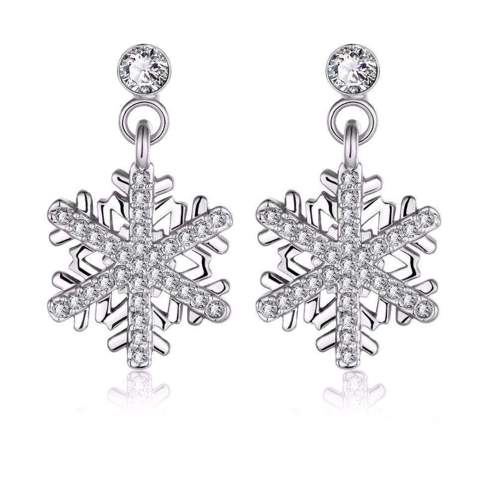Elegant Rhodium Plated Crystal Snowflake Dangle Earrings