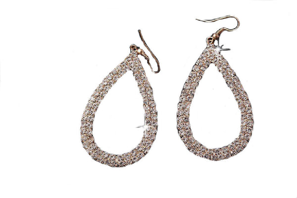 Large Gold Plated Crystal Open Teardrop Earrings